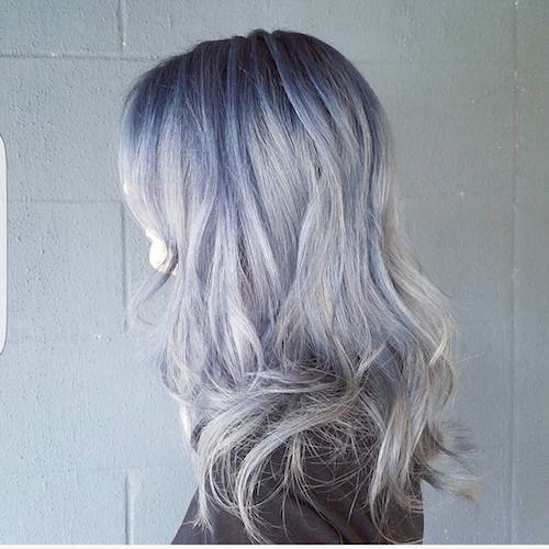denim hair purple blue