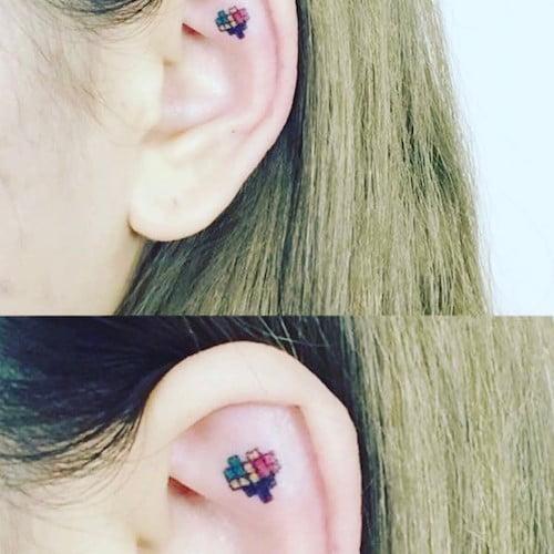 ear micro tattoo heart