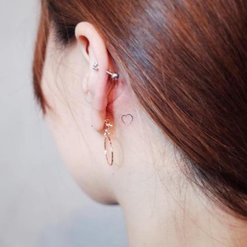 ear mini tattoo heart