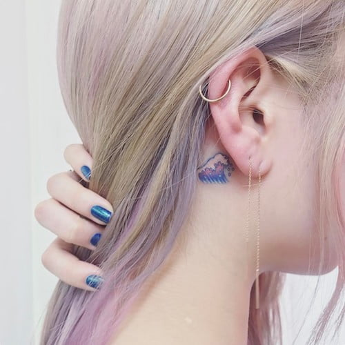 ear mini the wave tattoo