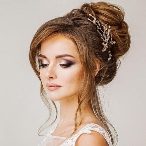 illusion neckline wedding hairstyle