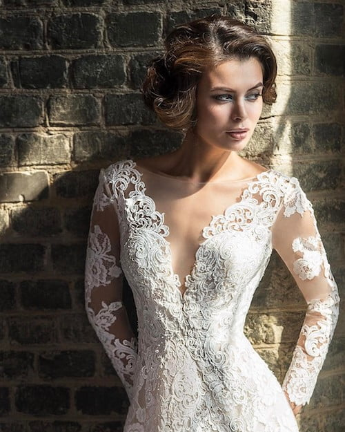 low scooped lace dress wedding hairstyle