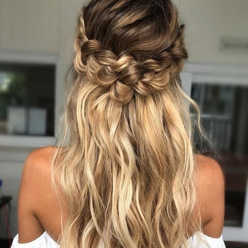 73 unique wedding hairstyles for different necklines 2017 off the shoulder wedding hairstyle junglespirit Choice Image