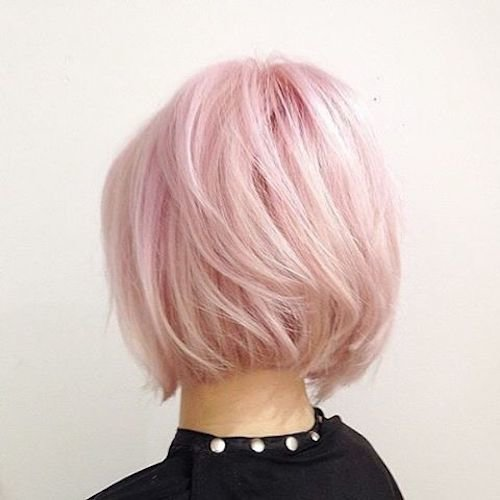 blonde with baby pink bob hairstyle