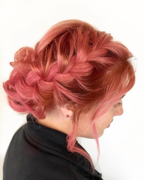 pink braided updo hairstyle