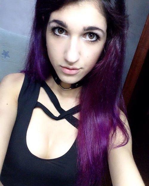 brown eyes with purple hair