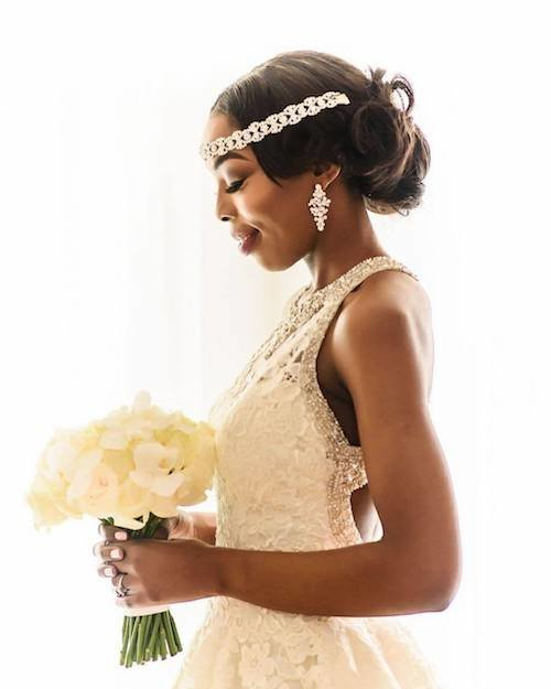 chignon wedding hairstyle for black women