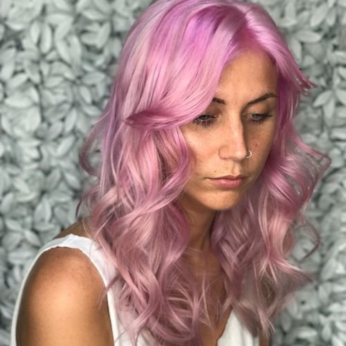 taffy pink hair color with curls