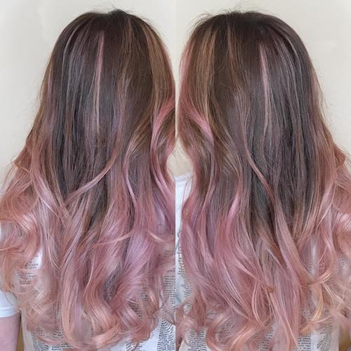 Dusty Pink Hair Color Highlights