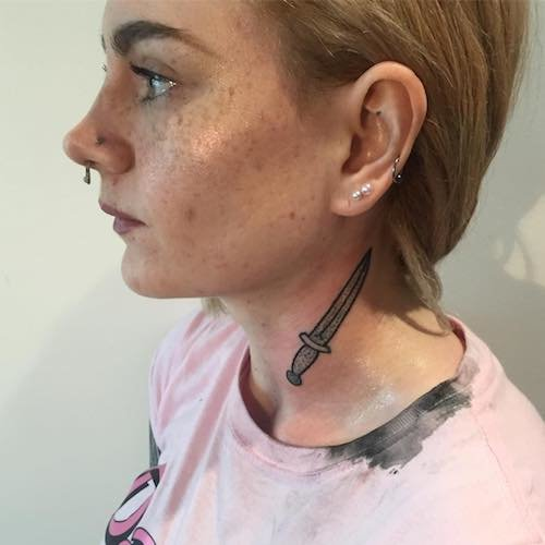 knife neck tattoo meaning