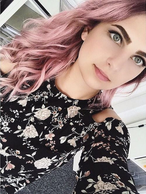 long wavy dusty pink hair color