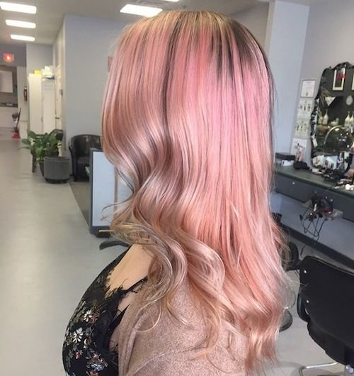 long rose gold hair color