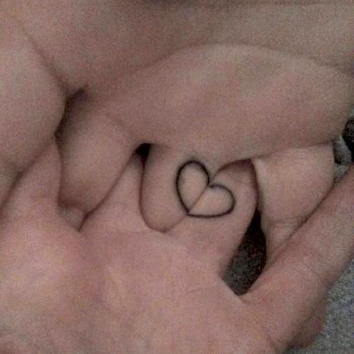 matching heart tattoos