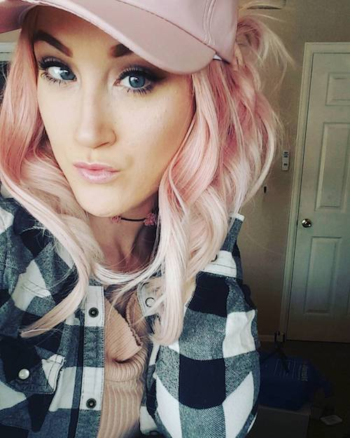 medium length blonde with baby pink hair