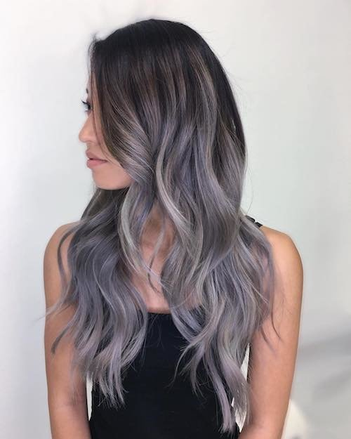 ombre balayage melt denim hair color