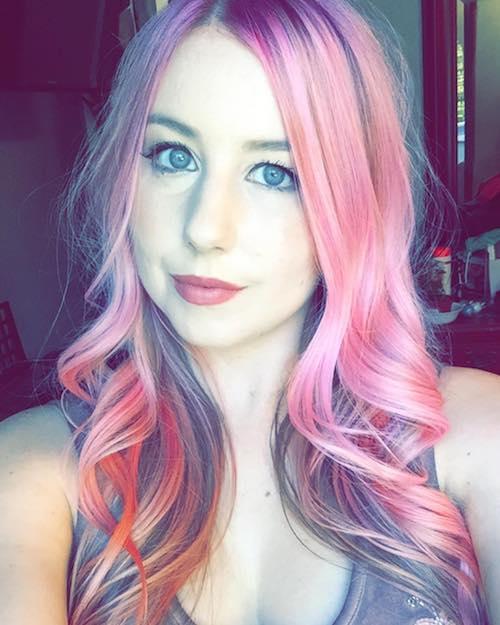 pink balayage for dark ash brown hair