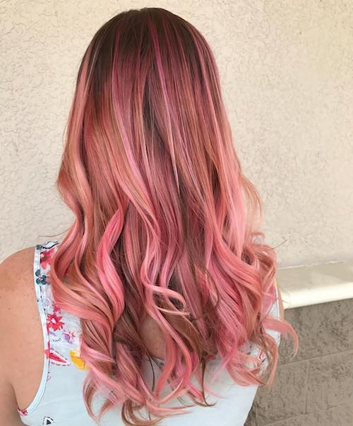 pink balayage for light brown wavy hair