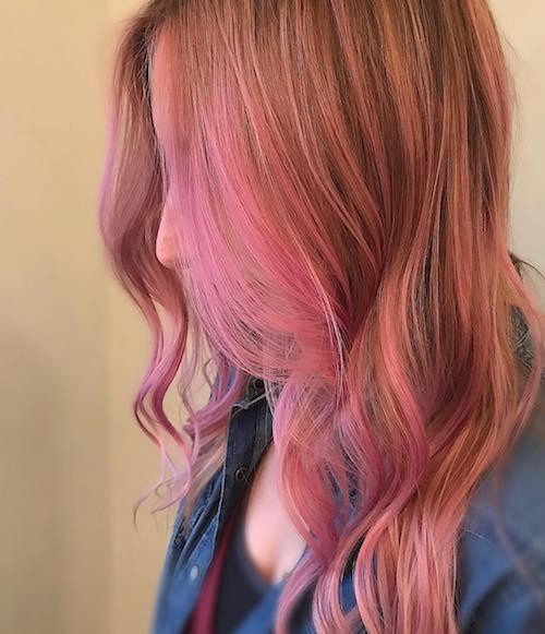 pink balayage for medium hair