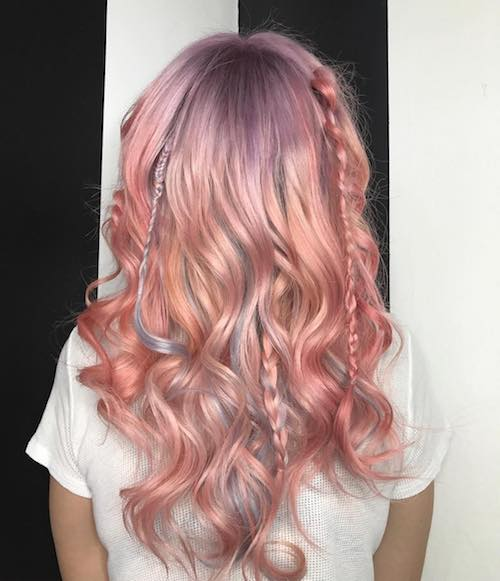 rose gold hair color with braids