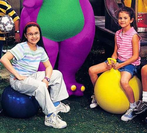 selena gomez, demi lovato, and barney