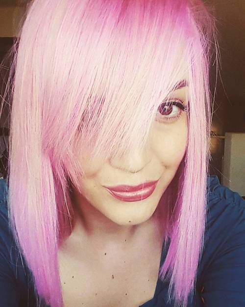 short straight taffy pink hair color