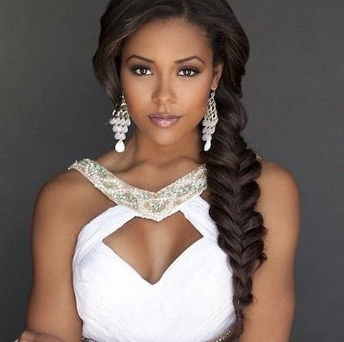 black bride with fishtail braid