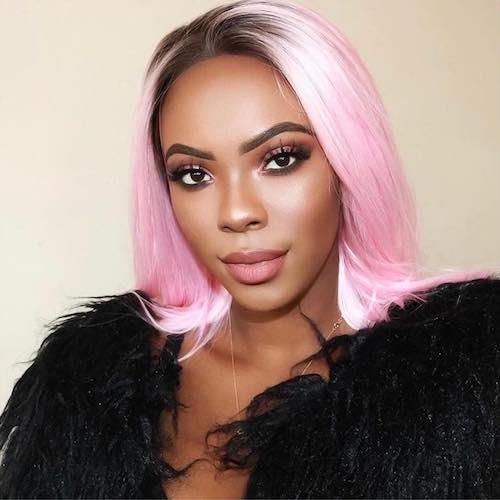bubble gum pink hair for black women