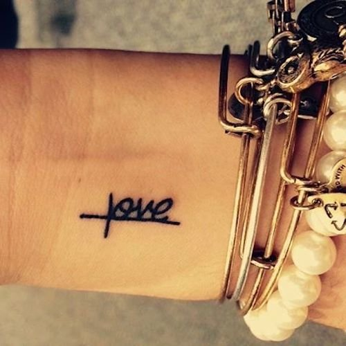 tiny tattoo on wrist - love