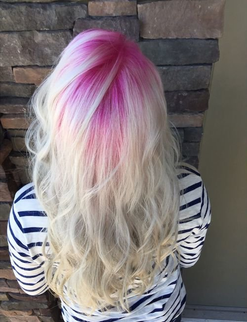 candy pink roots with long blonde hair