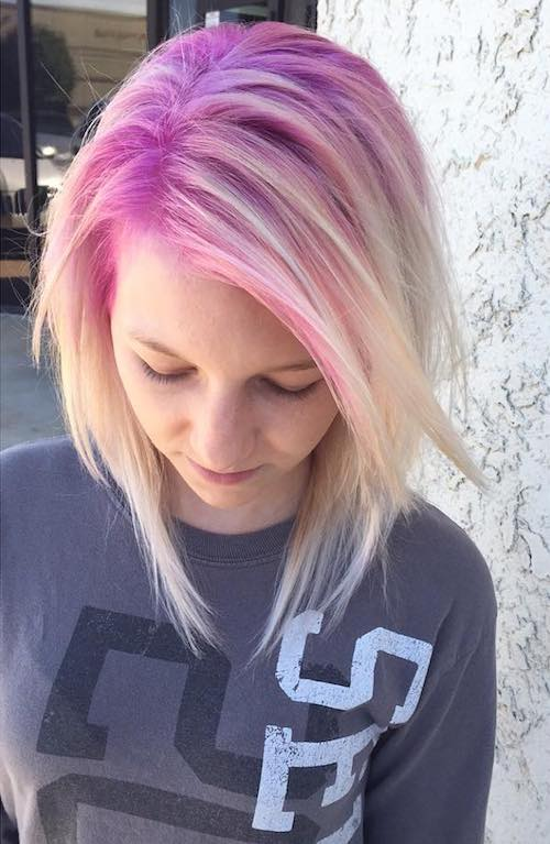 candy pink roots with short blonde hair