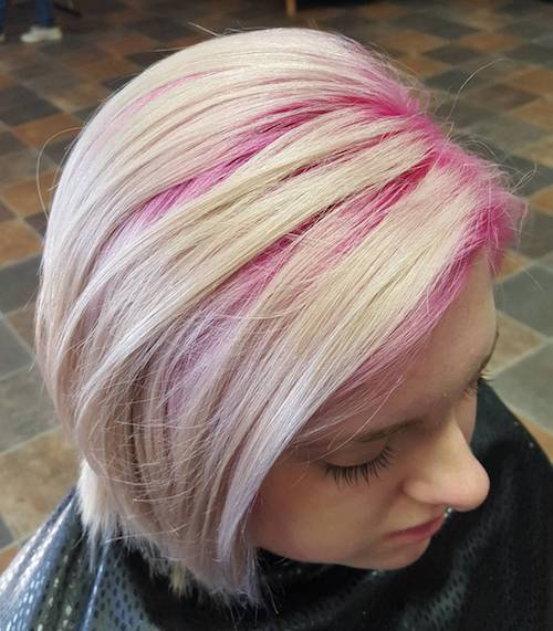 candy pink roots with blonde bob