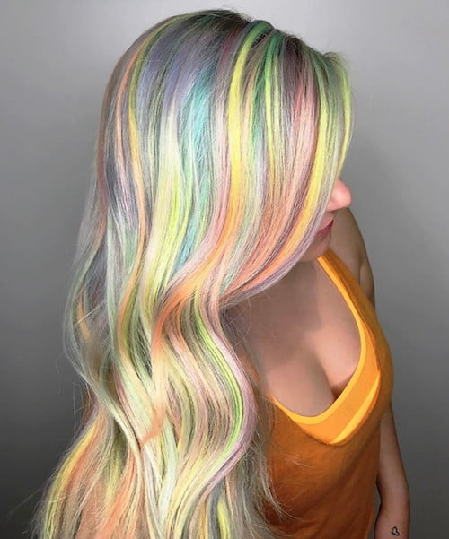 cool neon balayage for fair skin