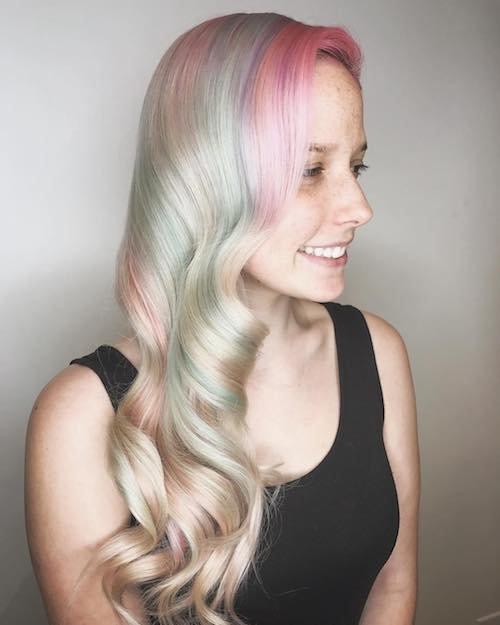 pastel rainbow highlights for fair skin