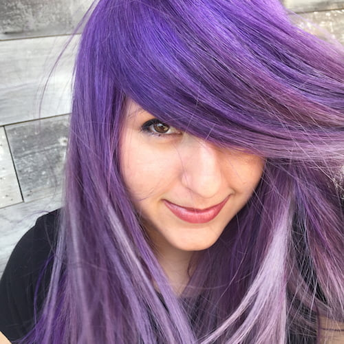 purple hair color for fair skin and brown eyes