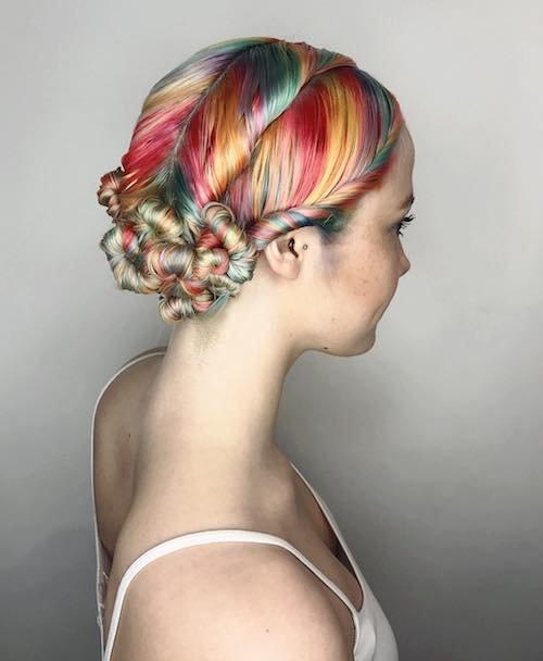 rainbow updo for fair skin