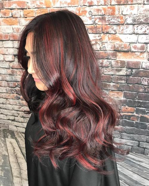 black cherry hair color for asian women