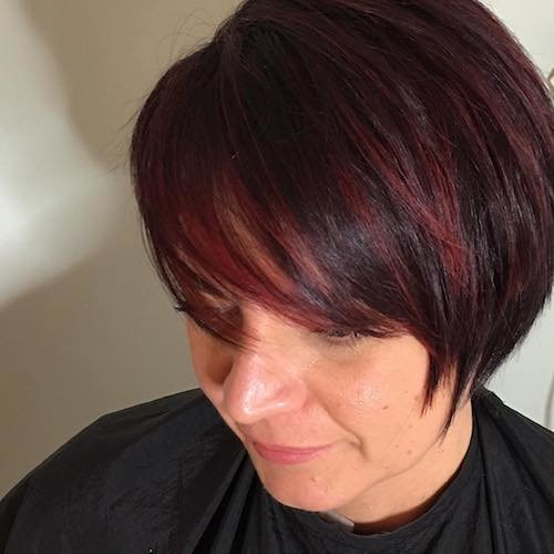 black cherry hair color for short hair