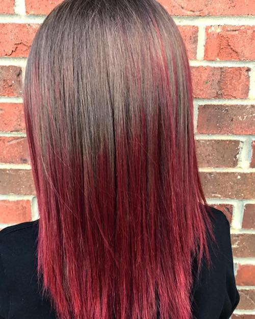 ruby red ombre hairstyle