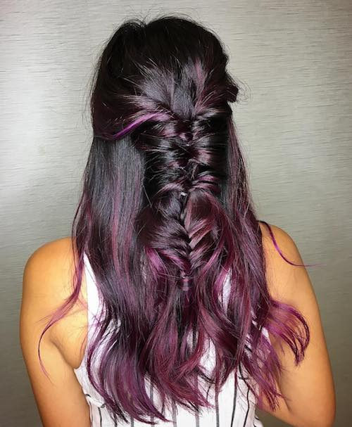 burgundy balayage with braids