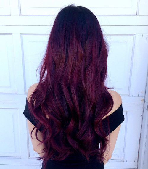 burgundy hair color on long hair with curls