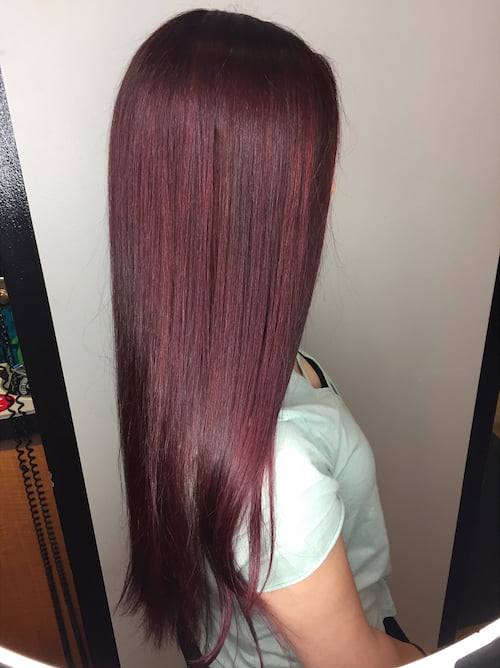 burgundy hair color on long straight hair