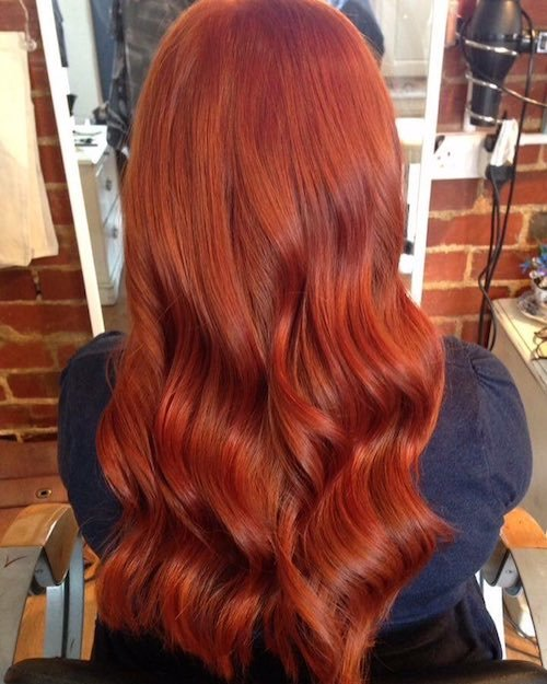vermillion red hair color for long hair