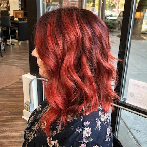 vermillion red hair color for medium curly hair