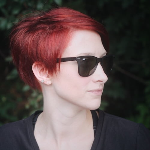 vermillion red hair color for pixie haircuts