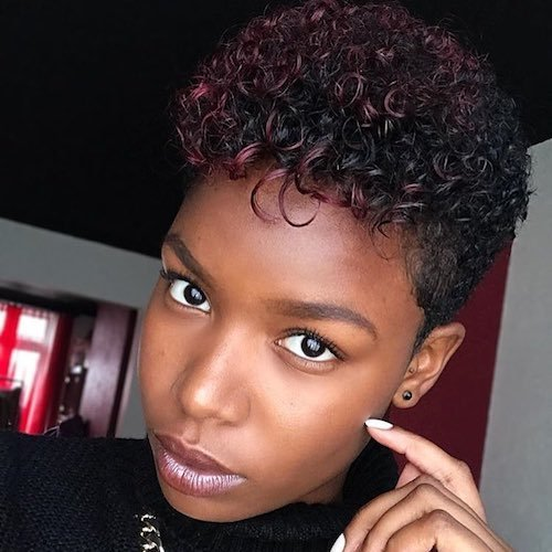 burgundy highlights for medium brown skin tone