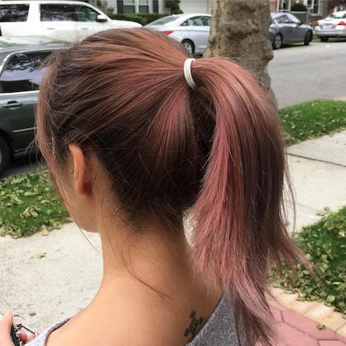 pink highlights with ponytail