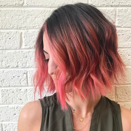 short hair with pink highlights