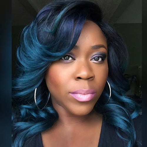 dark blue hair color for medium brown skin tone