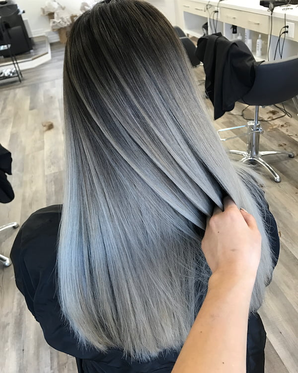 Pewter and silver balayage for straight black Asian hair