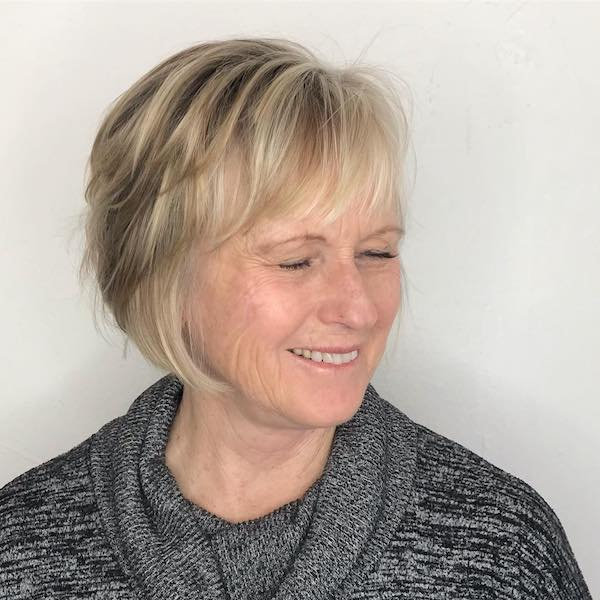 Layered bob for thin hair over50